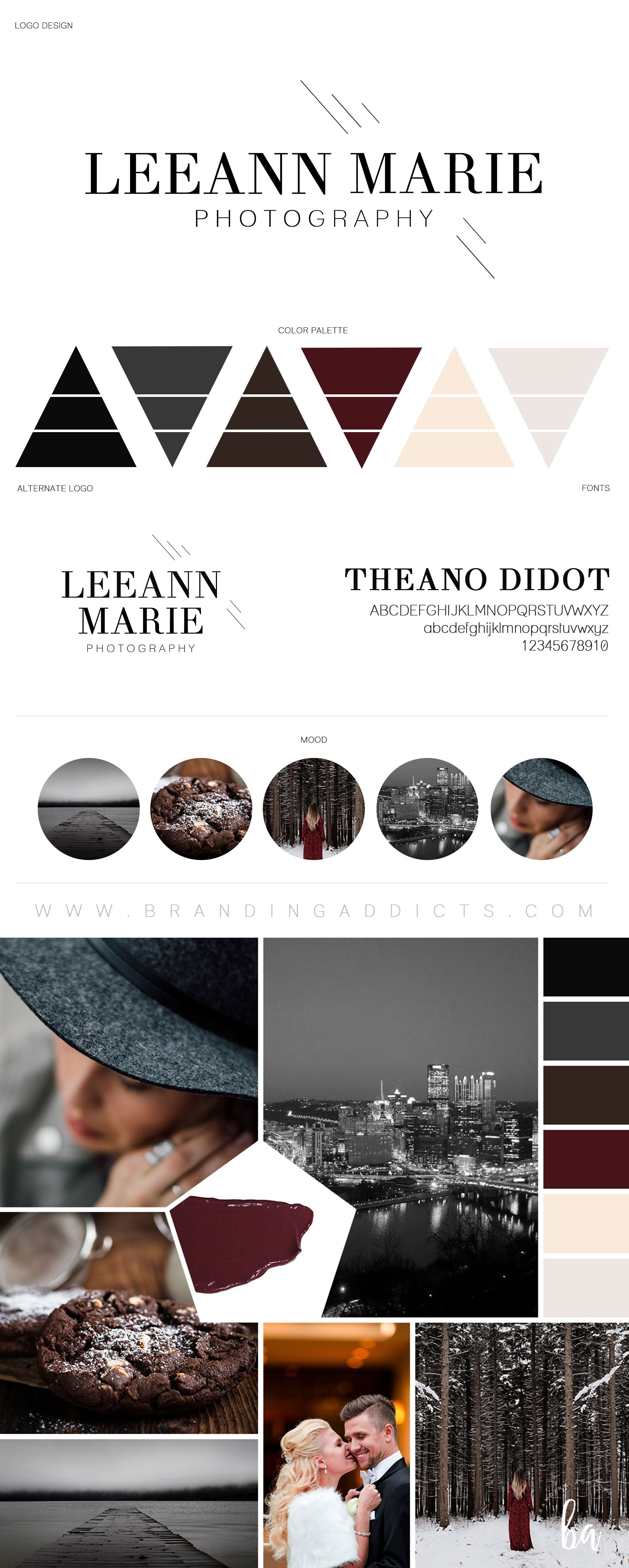 Branding Addicts New Brand Board. A city girl's heart meets the country. Leeann Marie is mixing luxury and class with the beauties of nature. Add in a touch of grey, some divine chocolate brown, a dash of wine, Didot font and you have a beautiful modern branding presence. Professional Business Branding by Designer Laine Napoli. Web Design, Logo, Mood Board, Brand Boards, and more.