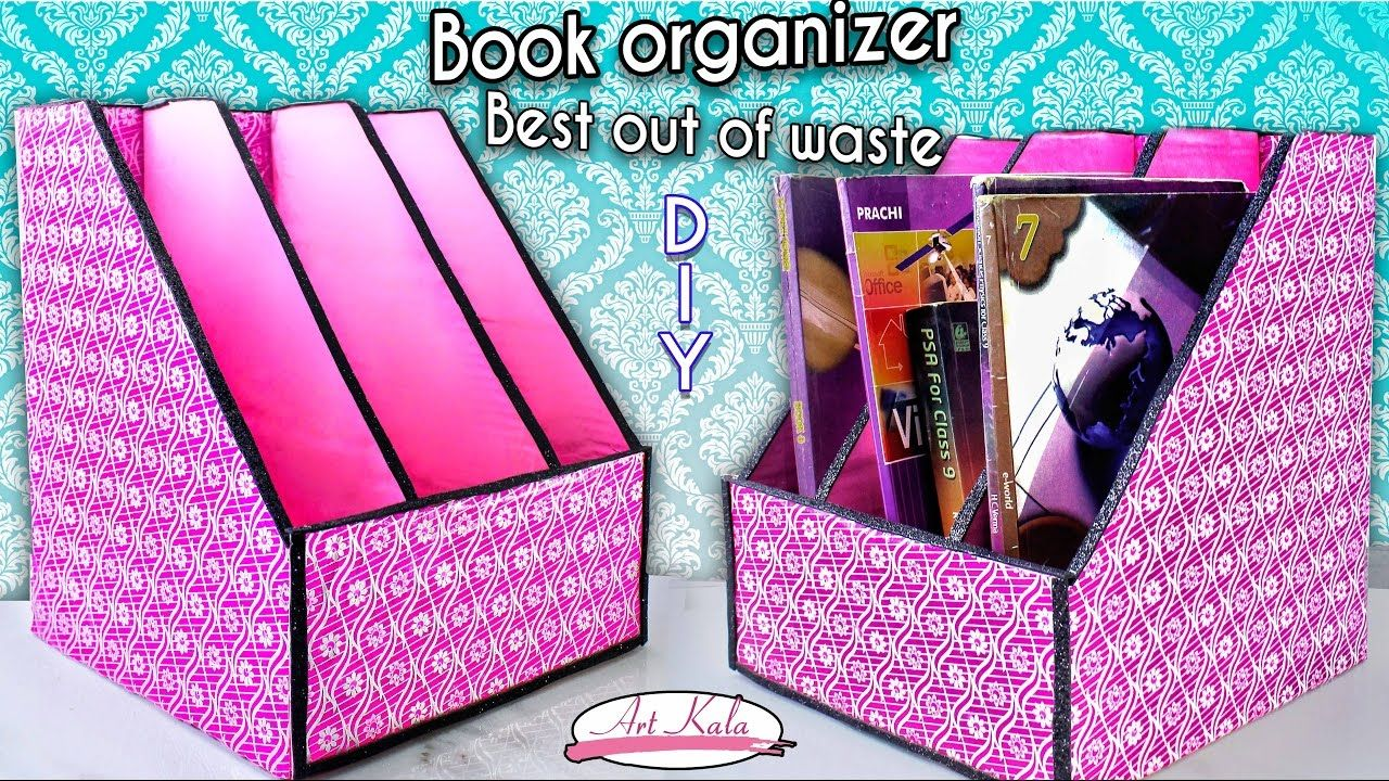 How To Make Book Holder Book Organizer Best Out Of Waste Diy