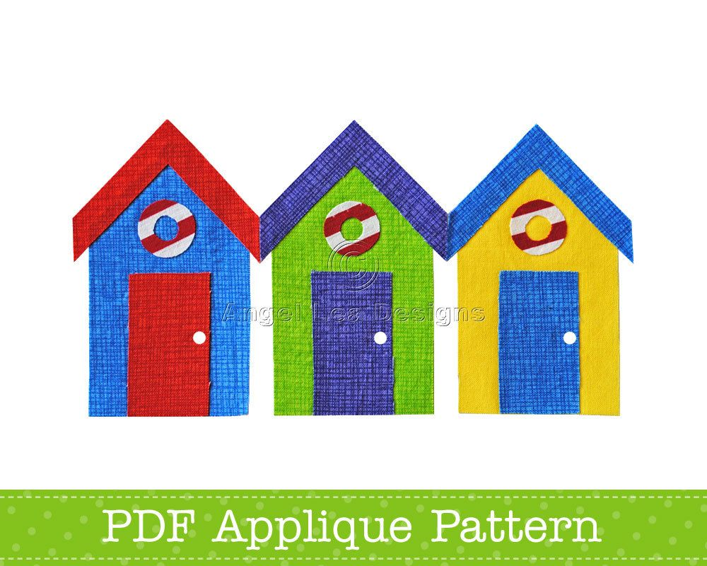 Beach huts applique template bathing huts pdf applique for Beach hut designs