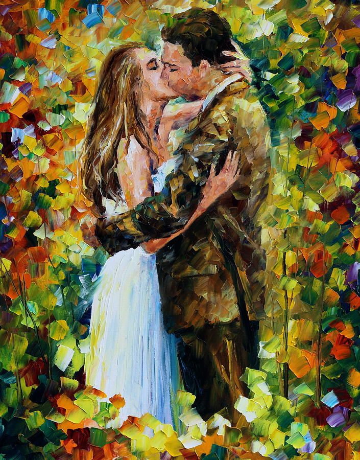 Kiss In The Woods By Leonid Afremov In 2020 Oil Painting Texture