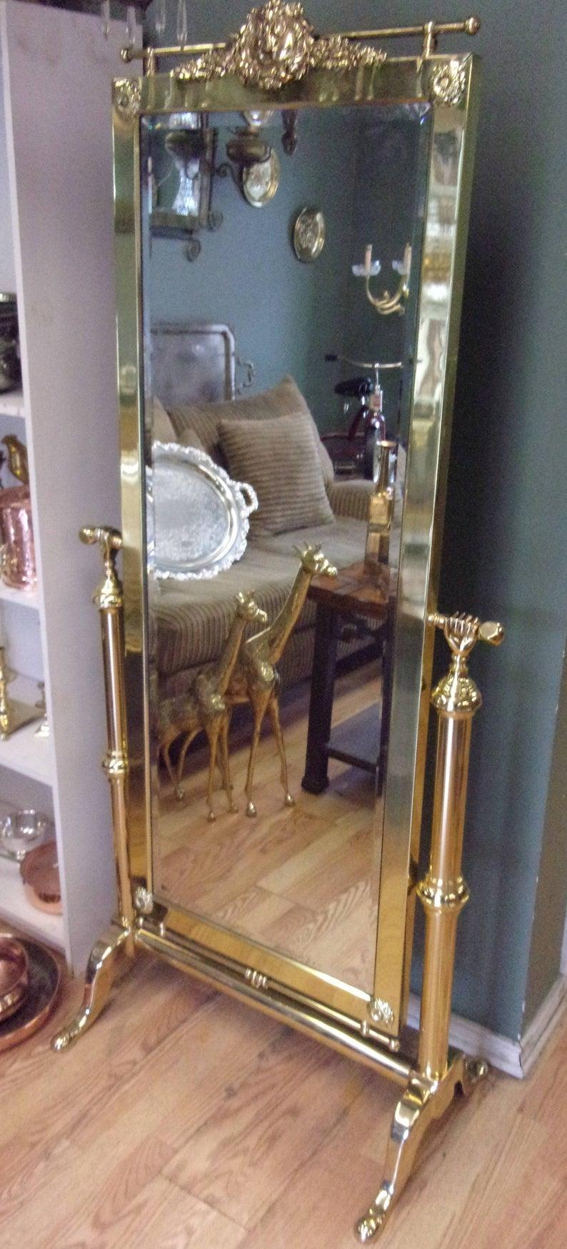 Hollywood Regency Brass Cheval Floor Mirror.