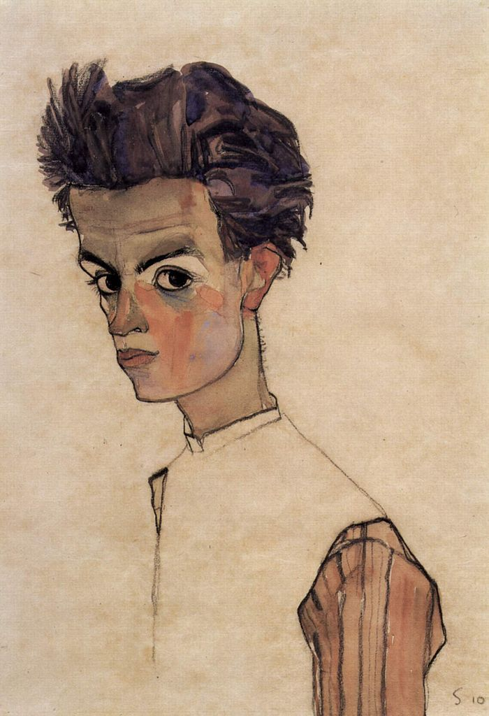 Egon Schiele, 'Self Portrait' (1910) || Austrian Expressionist (1890-1918)