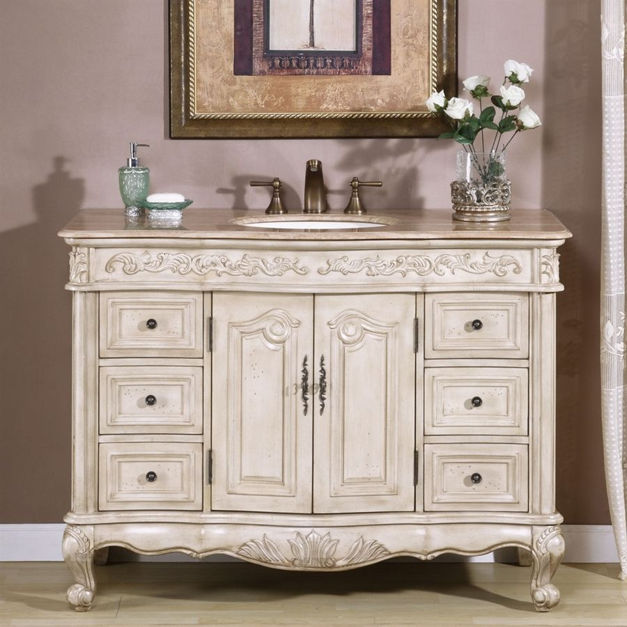 Silkroad Exclusive Ella 48In Antique White Undermount Single Sink Alluring Antique Bathroom Vanities Design Ideas