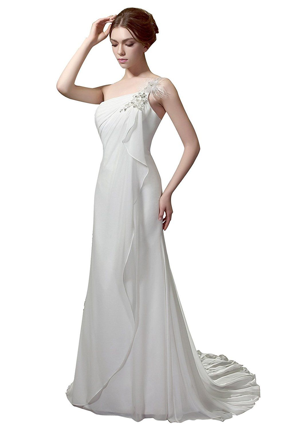Chiffon wedding dresses  HeleneBridal Simple Informal Sheath One Shoulder Chiffon Wedding