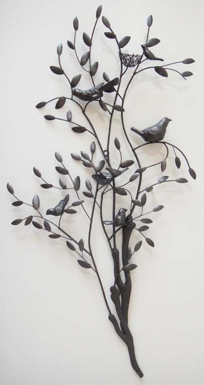 Metal Wall Art Large Tree Branch With Nesting Birds Metal Wall