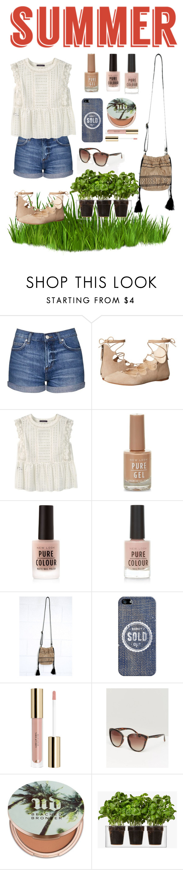 """Summer "" by daphnefontes ❤ liked on Polyvore featuring Topshop, Nine West, Violeta by Mango, New Look, Lulu*s, Casetify, MANGO, Urban Decay, Boskke and strawbags"