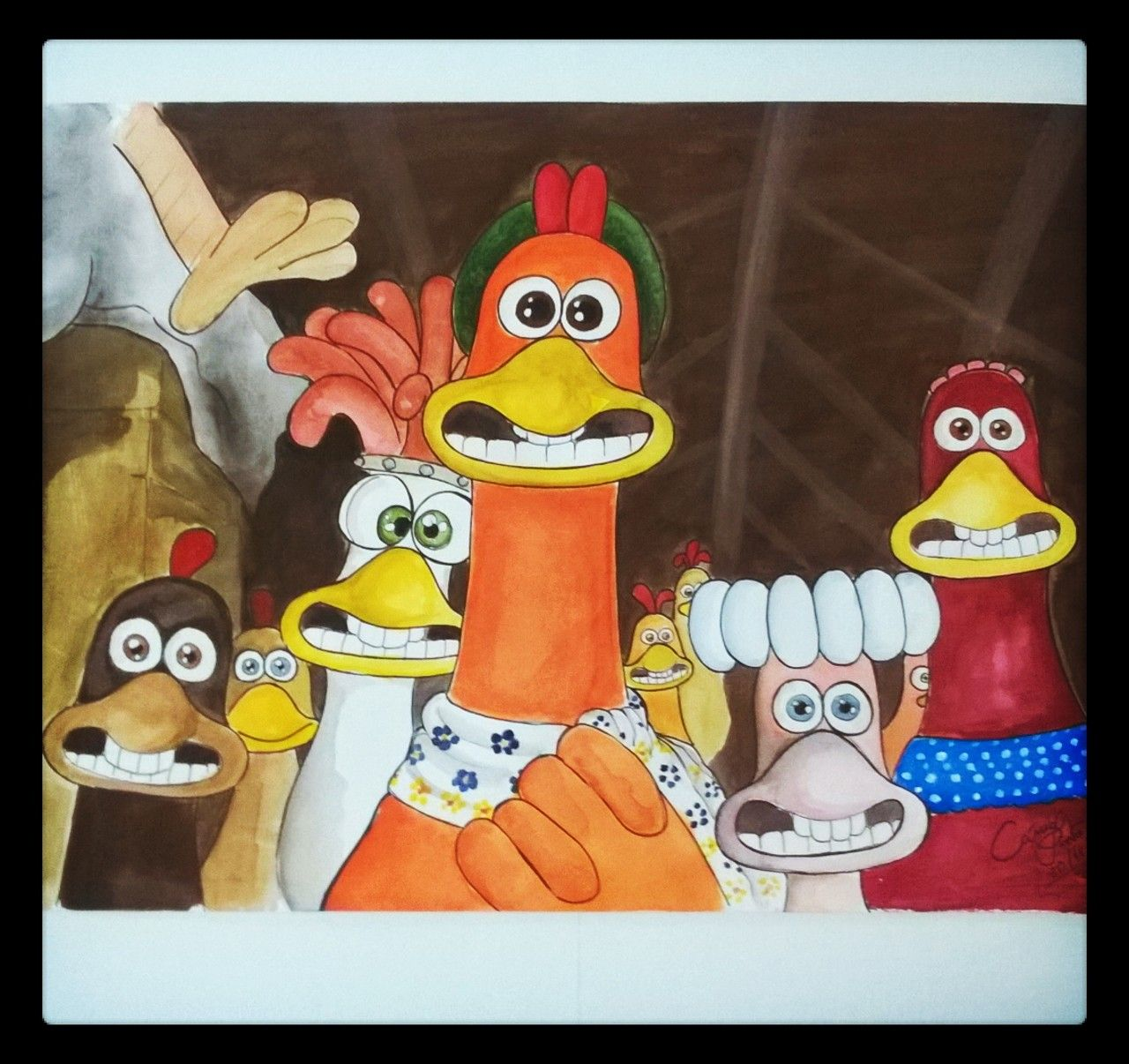 A Fuga Das Galinhas Chicken Run Aquarela E Guache Guache