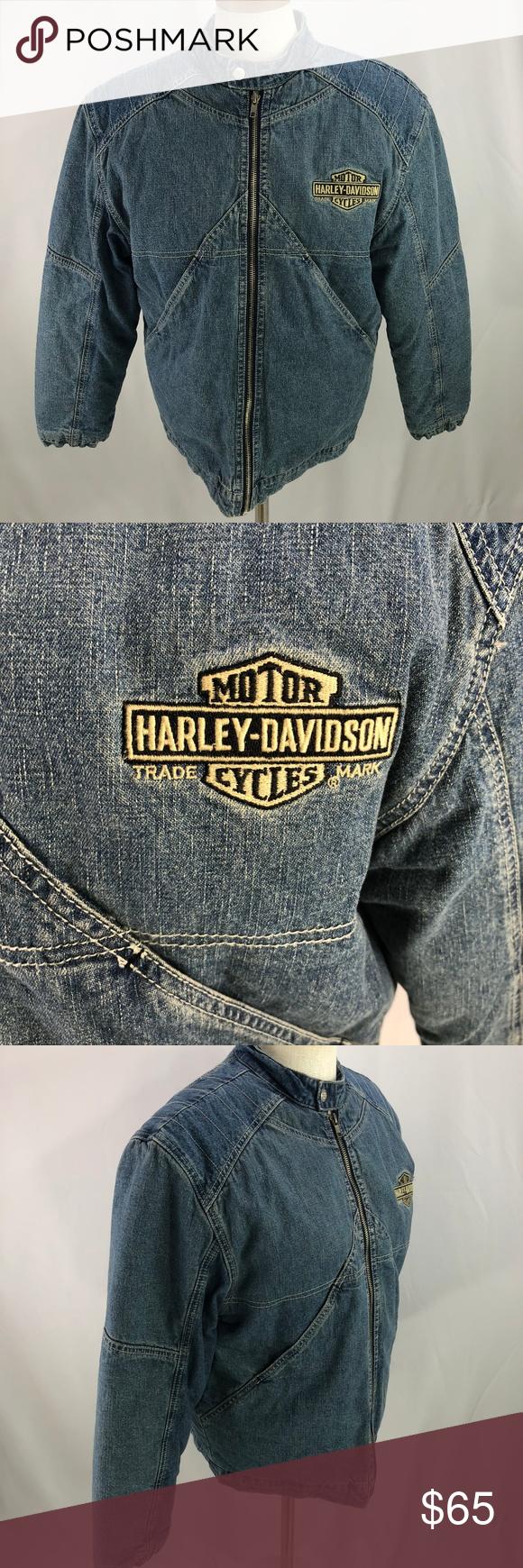 Harley Davidson Womens Denim Biker Jacket 20 Harley