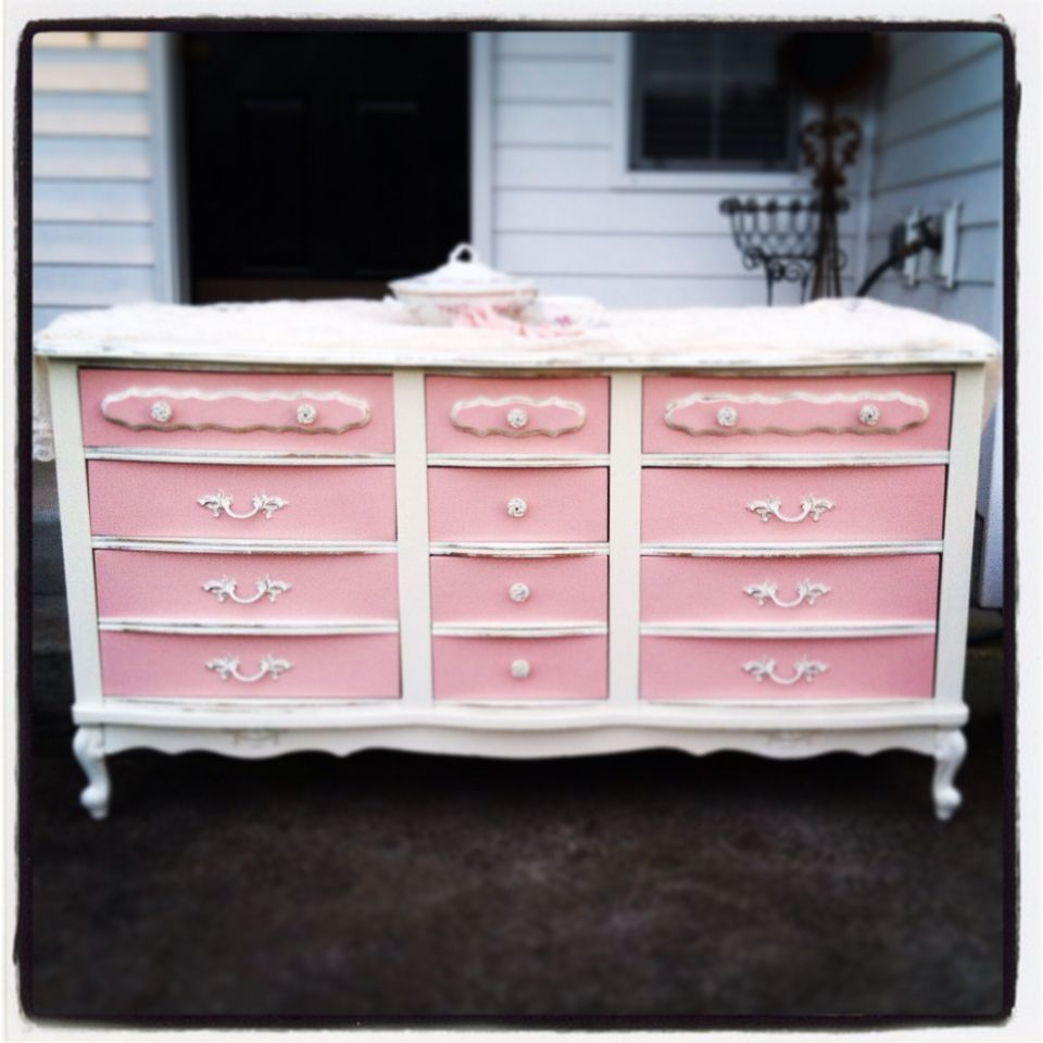 French Provincial Dresser Painted In Old White And A