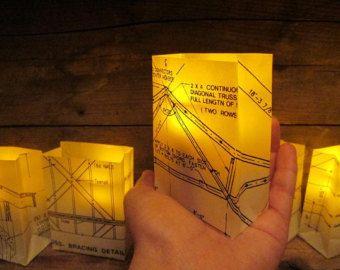Mini blueprint luminaries vellum luminaries architect architect blueprints malvernweather Choice Image
