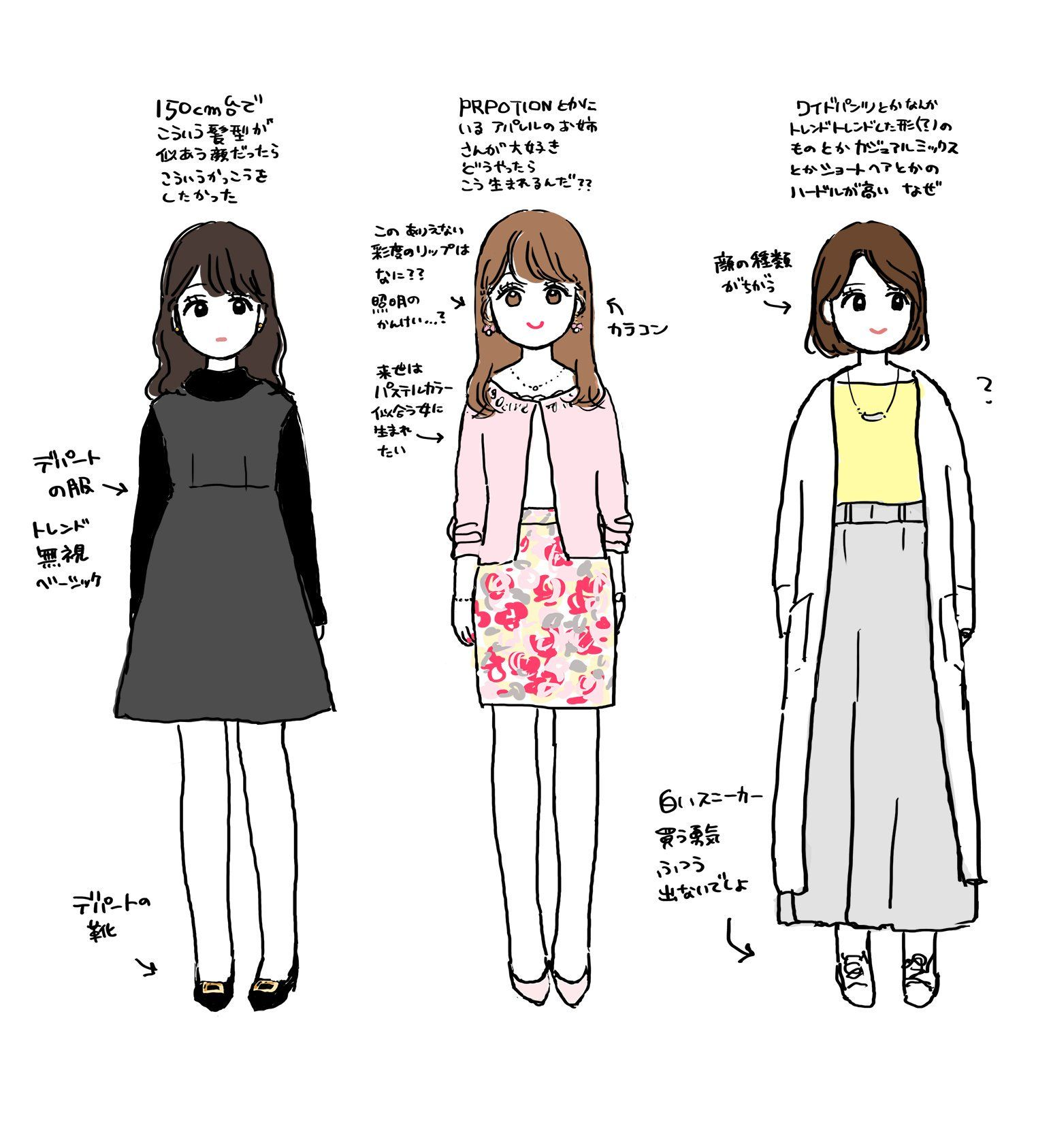 16 000rt 着たい服 じゃなくて こういう女に生まれたかった イラスト イラスト ファッションセット かわいい