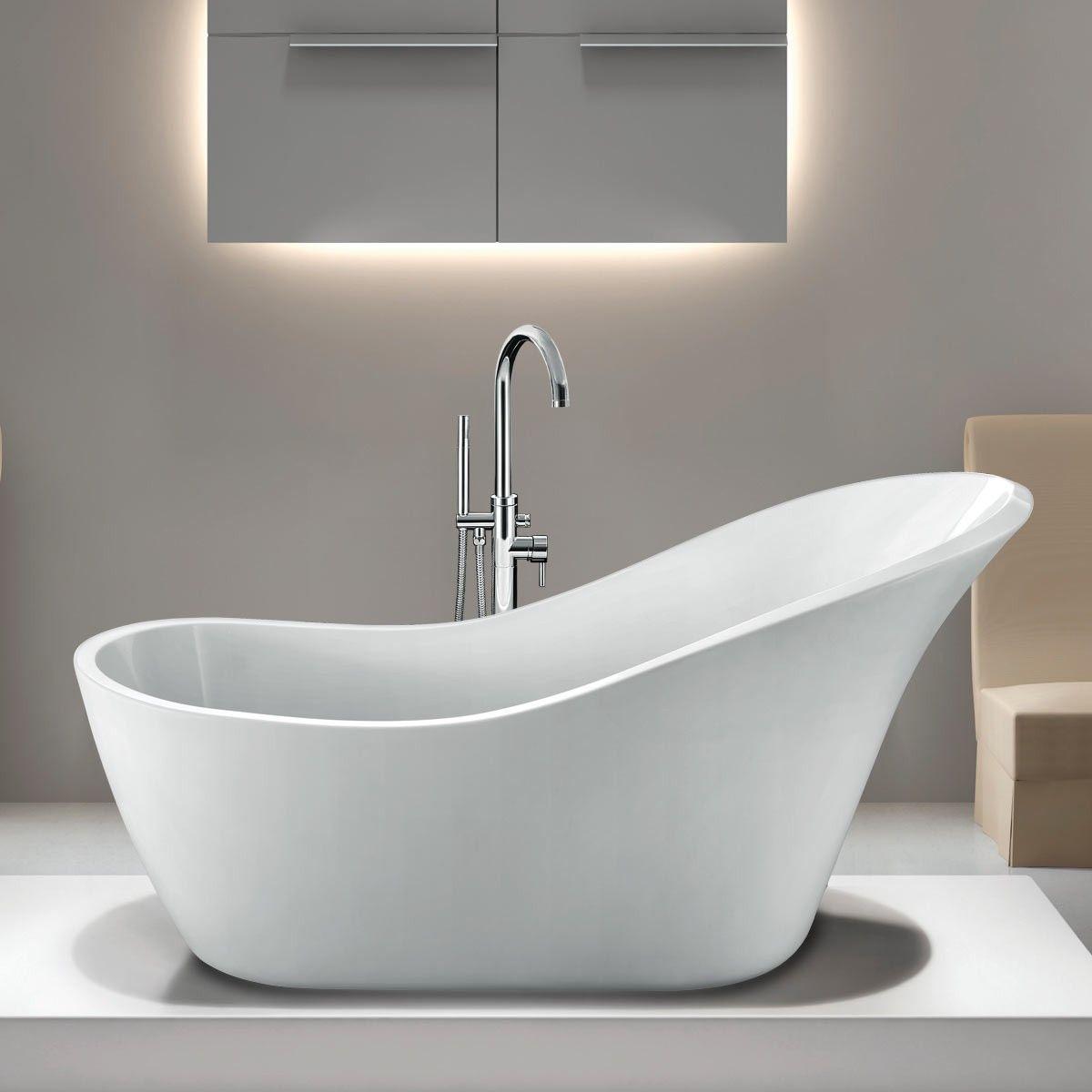 Randolph Morris 68 Inch Acrylic Slipper Freestanding Tub - No Faucet ...