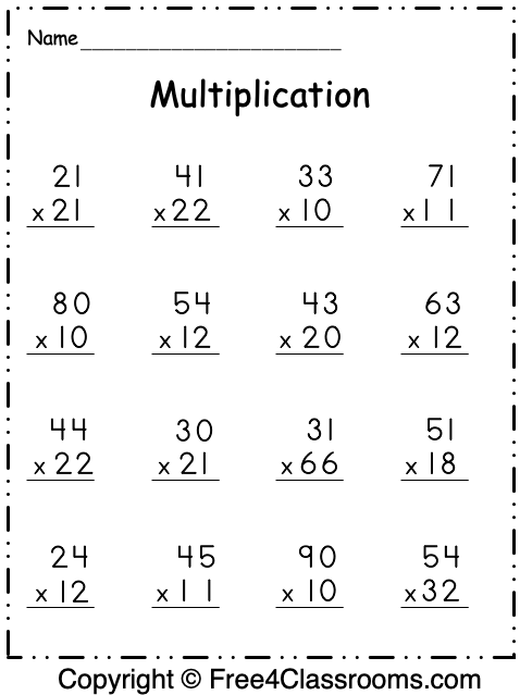 Free Multiplication Worksheet 2 Digit By 2 Digit Free4classrooms In 2020 Free Multiplication Worksheets Multiplication Free Multiplication