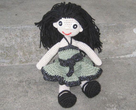 Crochet Doll Pattern Amigurumi Doll In Olive Green Dress Crochet