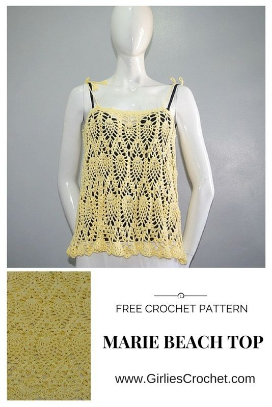 This is a free crochet pattern for Marie Beach Top using pineapple ...