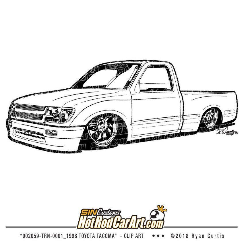1998 Toyota Truck Clip Art in 2020 1998 toyota