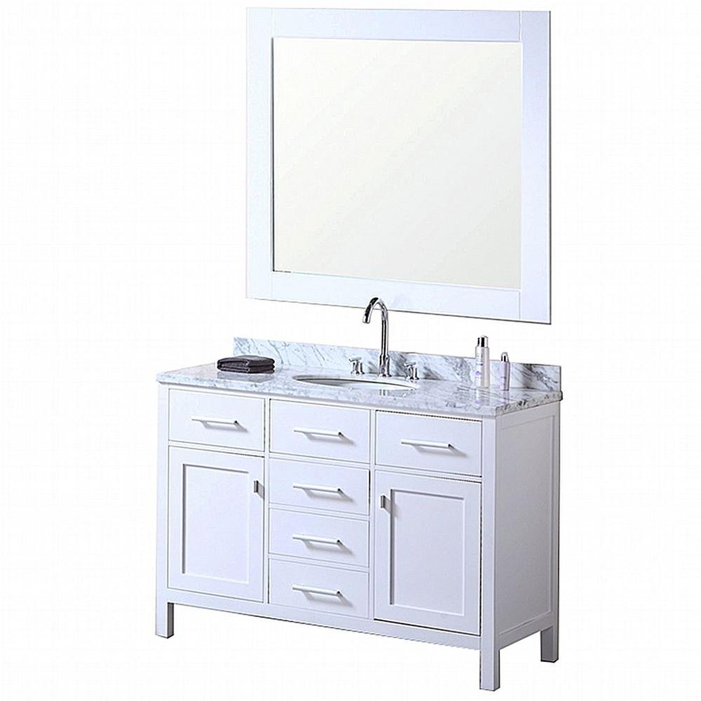 Design Element London 48 in. W x 22 in. D Vanity in Pearl White with ...