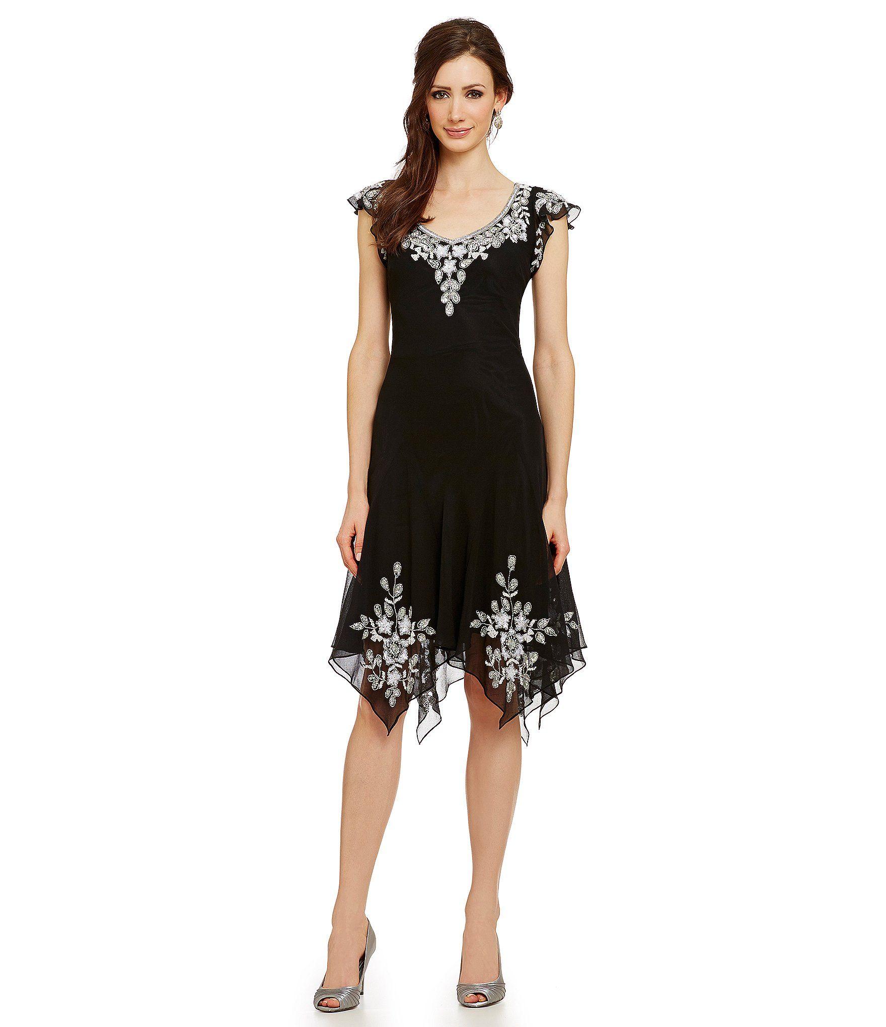 Shop for JKara Cap Sleeve Beaded Dress at