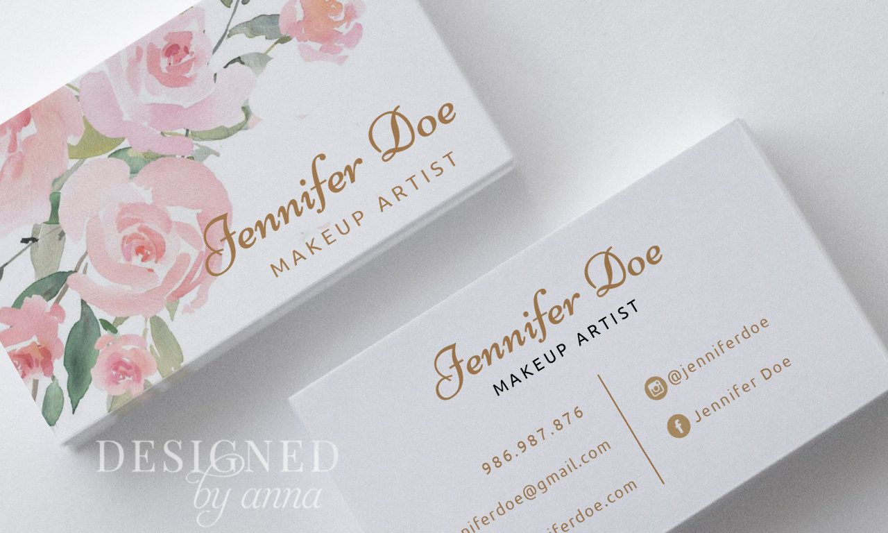 Floral Business Card Design Printable Business Card Template Watercolor Modern Business Cards Flowers Cosmetician Calling Card Makeup Artist Printable Business Cards Modern Business Cards Floral Business Cards