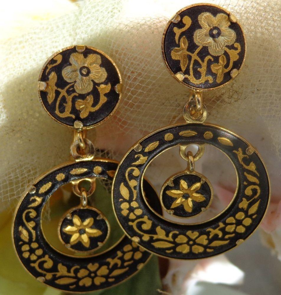 SOLD 24k Gold Damascene Damasquinado Oro Spanish Gypsy Dangle Earrings TOLEDO SPAIN #DropDangle