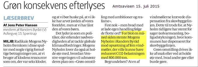 Det er ulideligt let at skrive og snakke - noget sværere når der skal sættes handling bag ved. Mogens Nyholm (R) havde i et indlæg pudset sit grønne image - men havde stemt imod opsætning af (uporpulære) vindmøller ved Binderup.