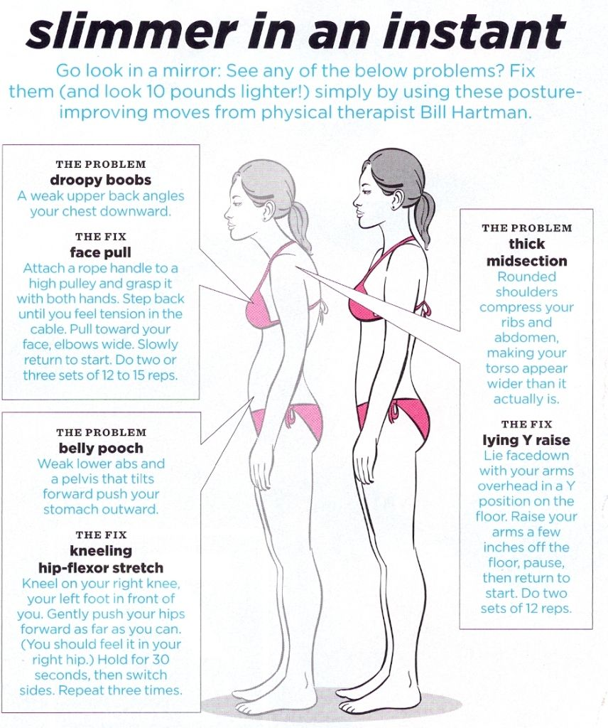 Slimmer in an instant: posture fixes!