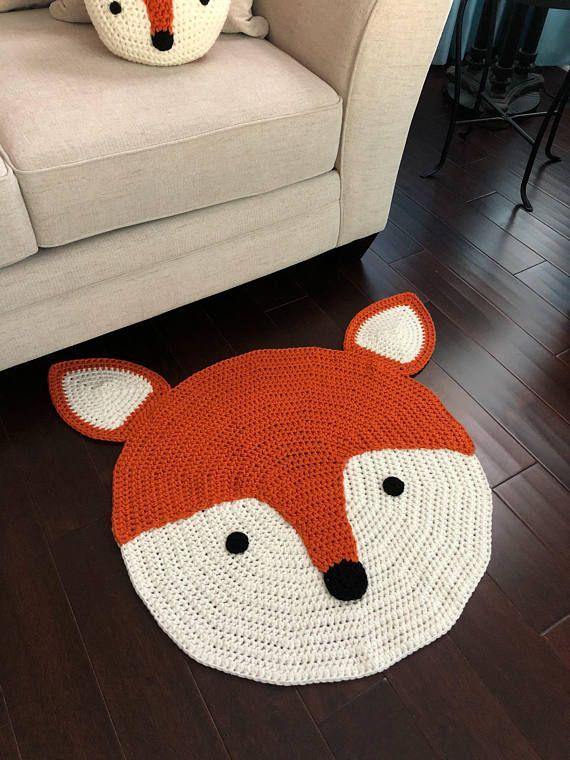 Crochet Fox Rug Hand Made Rug Crochet Rug Area Rug Crochet Rug Fox Rug Crochet Fox