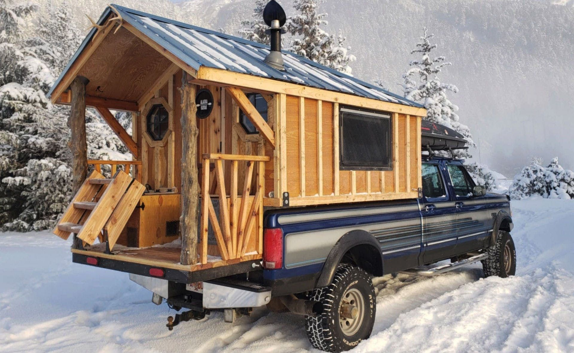 Alaskan Pioneer Builds Rolling Log Cabin On A 1996 Ford F 350