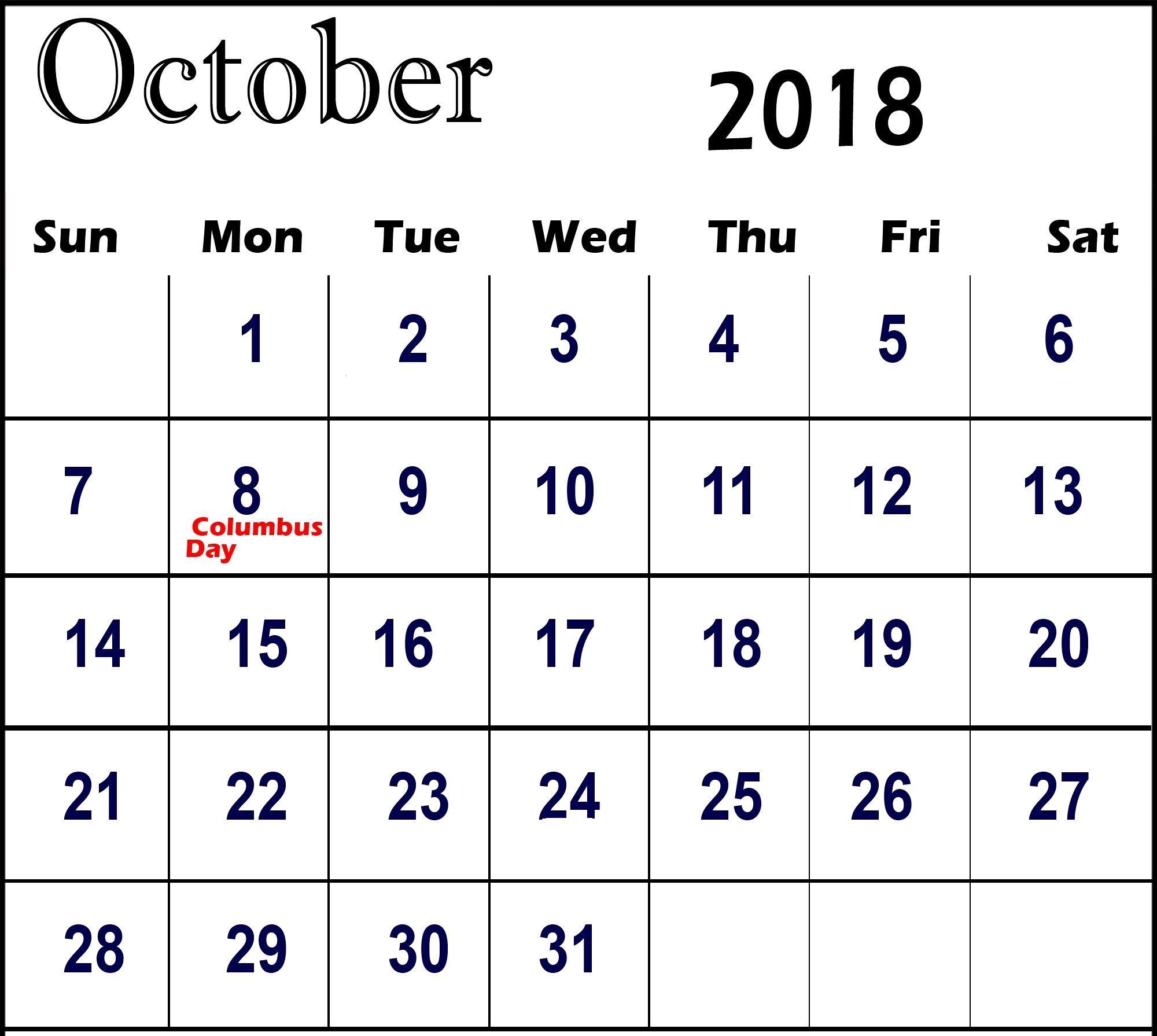 Calener October: October 2018 Calendar With USA School Holidays Printable