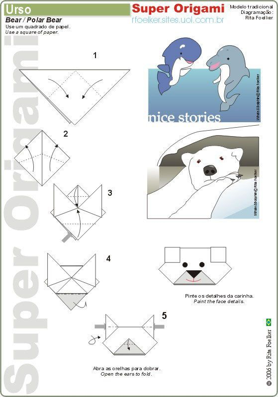 Free Origami Polar Bear Tutorial Crafts For Kids Pinterest