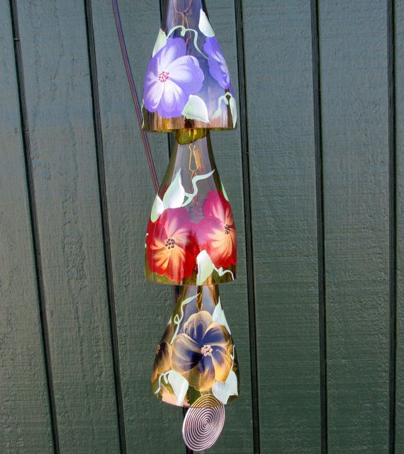Recycled Wine Bottle Wind Chime, Red, Purple And Gold Flowers, Yard Art,