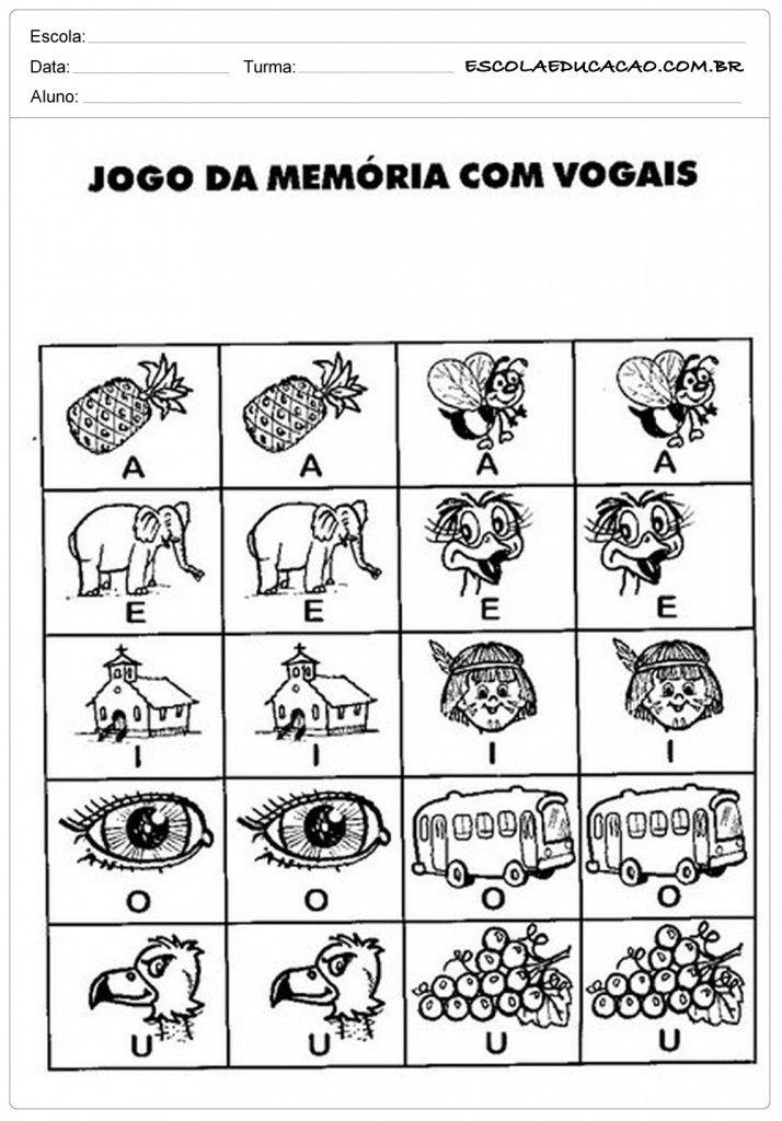 Atividades Com Vogais Jogo Da Memoria Vogais Para Imprimir Atividades De Alfabetizacao Atividades Com Vogais