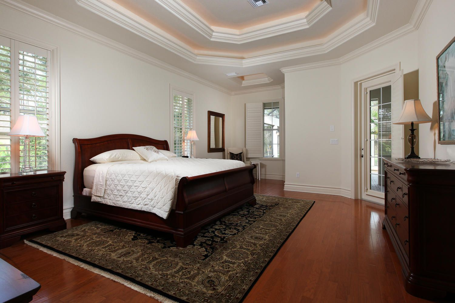 Master bedroom nook  MASTER BEDROOM WITH READING NOOK AND FRENCH DOORS TO POOL AND SPA