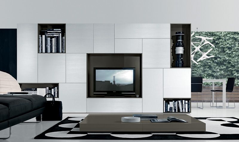 tv wall storage unit, white brushed timber doors | paneling