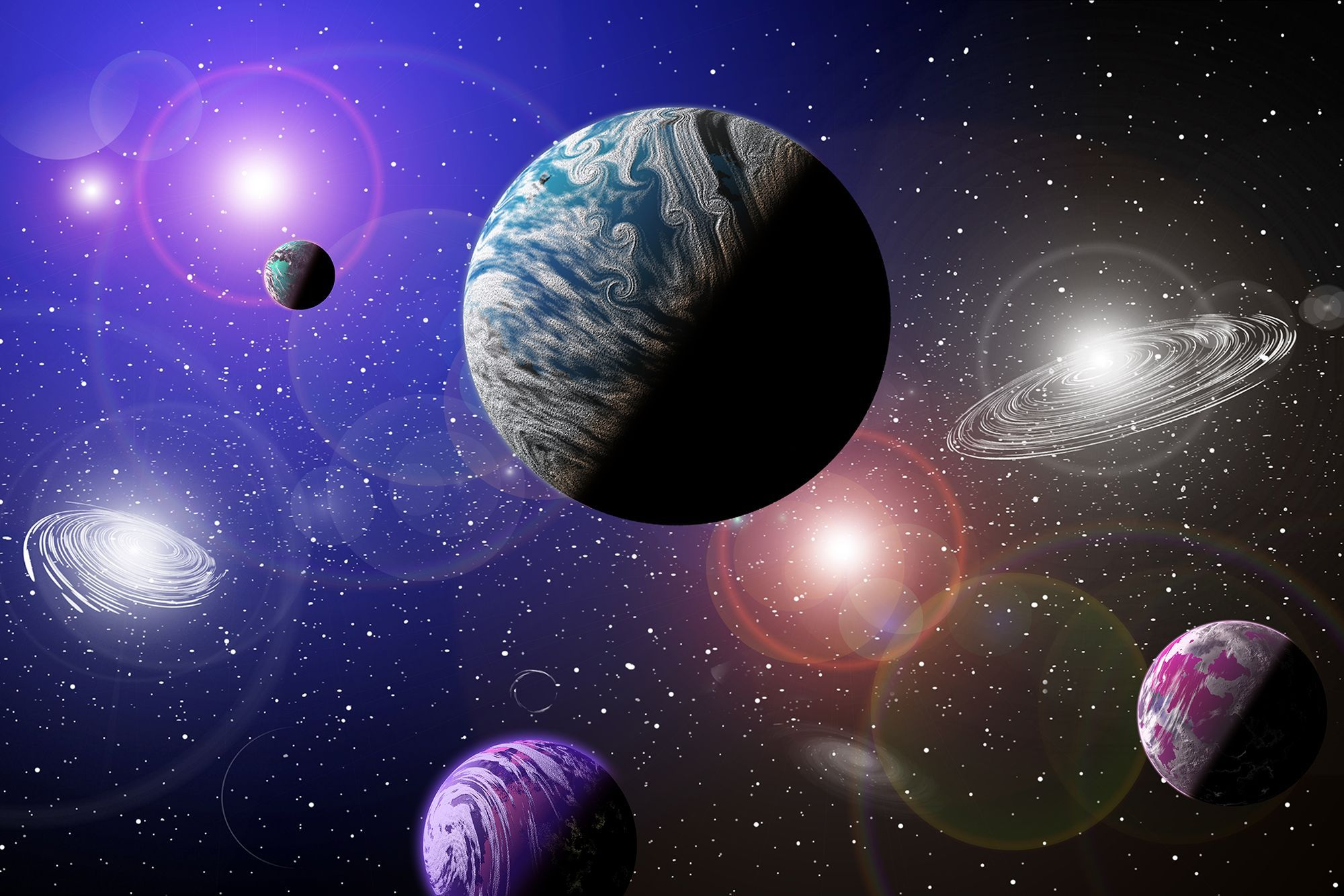 Peel and stick photo wall mural galaxy planets space photo wallpaper 125cm x 84cm wallpapers - Galaxy and planets ...
