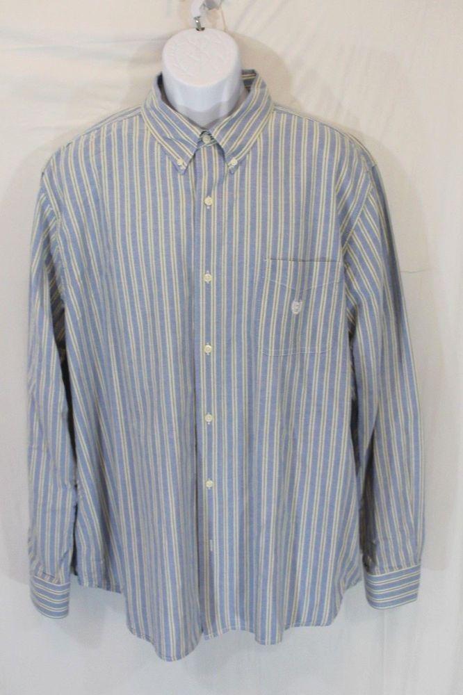 Chaps Mens Blue Shirt XXL Yellow Striped Button Down Long Sleeve 2XL #Chaps  #ButtonFront
