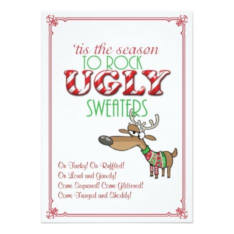 Rock Ugly Sweaters Holiday Party Invitation in 2018 Christmas