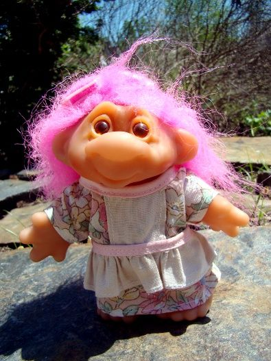 If I were your mother in the 1960s, this is probably what I'd look like! She still has a curler or 2 in her hair, and has a sideways snarky smile. I love this little Dam troll lady!