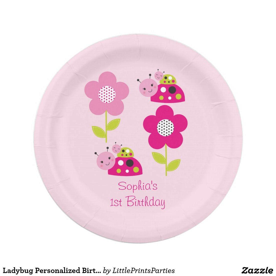 Ladybug Personalized Birthday Plates  sc 1 st  Pinterest & Ladybug Personalized Birthday Plates | Birthday plate and Birthdays
