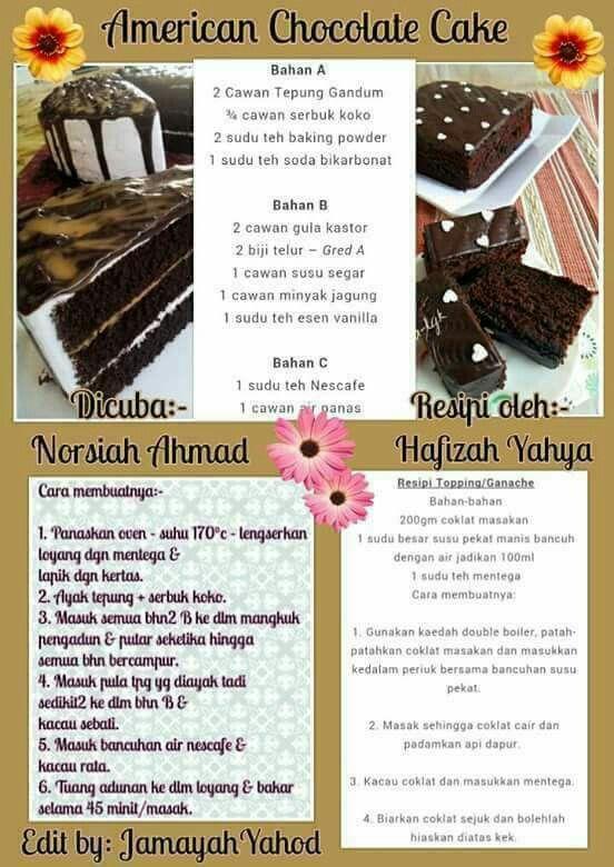 Pin By Mastura Yaacob On Chocolate Cake Resep Cake American Chocolate Chocolate Cake