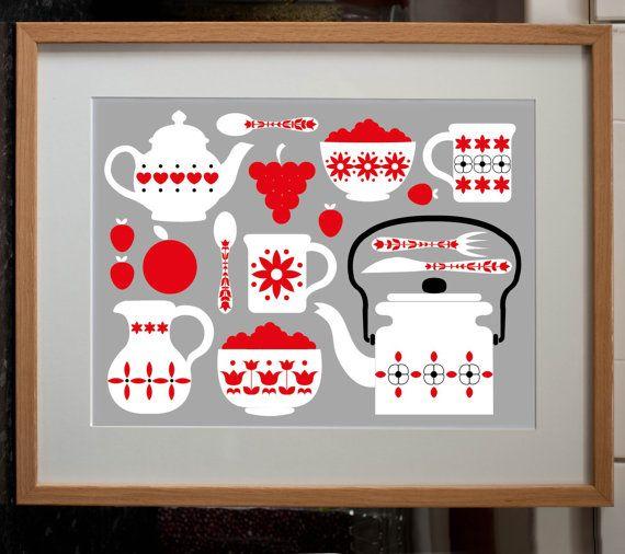 Retro Kitchen Shelves Art Print By Natalie Singh: Art, Art Prints, Design