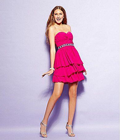 8th grade formal Jodi Kristopher Strapless Tiered Dress #Dillards ...