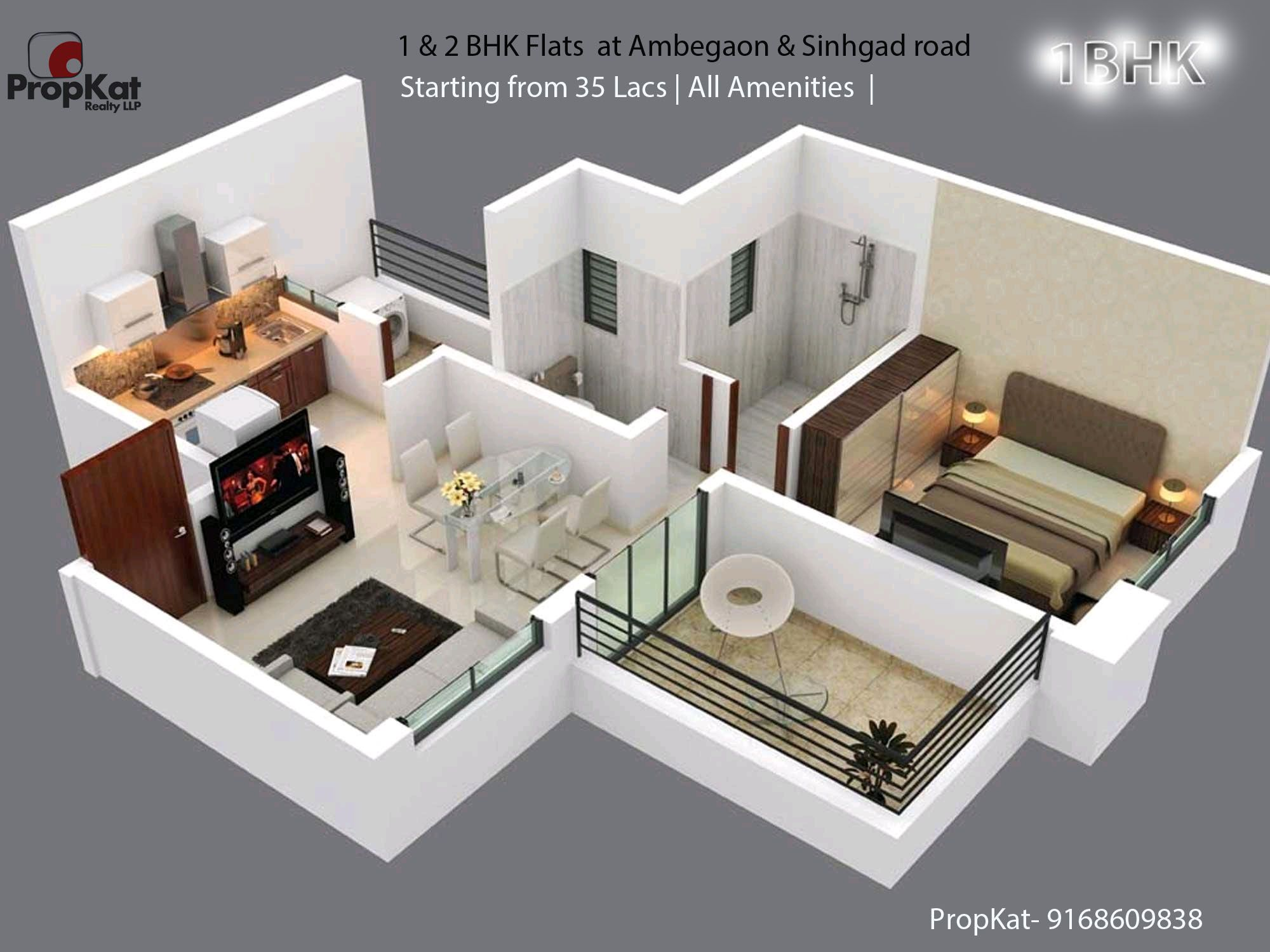 1 2bhk Flats At Ambegaon Sinhgad Road Starting From 35 Lacs All Amenities Propkat 91686098 Flat Interior Design Best Interior Design Flat Interior
