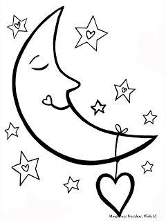 Mewarnai Gambar Bulan Moon Coloring Pages Star Coloring Pages Valentine Coloring Pages