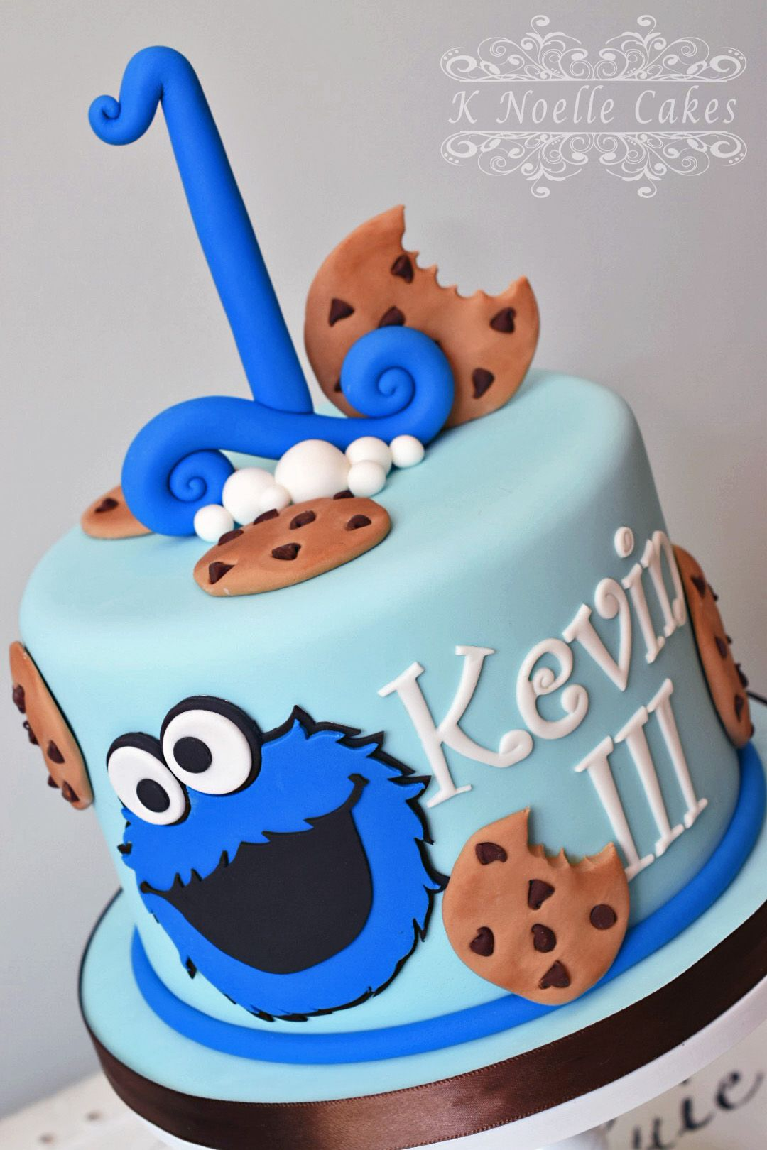 Cookie Monster theme 1st Birthday cake by K Noelle Cakes