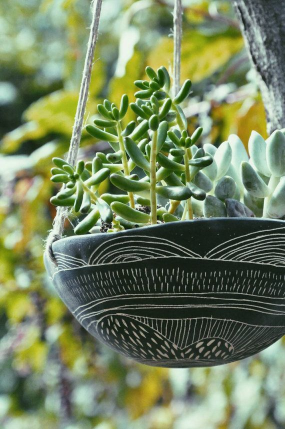 Dreamscape Sgraffito Hanging Planter Black And White With Hemp Cord Stoneware Hand Carved Pot Succulent