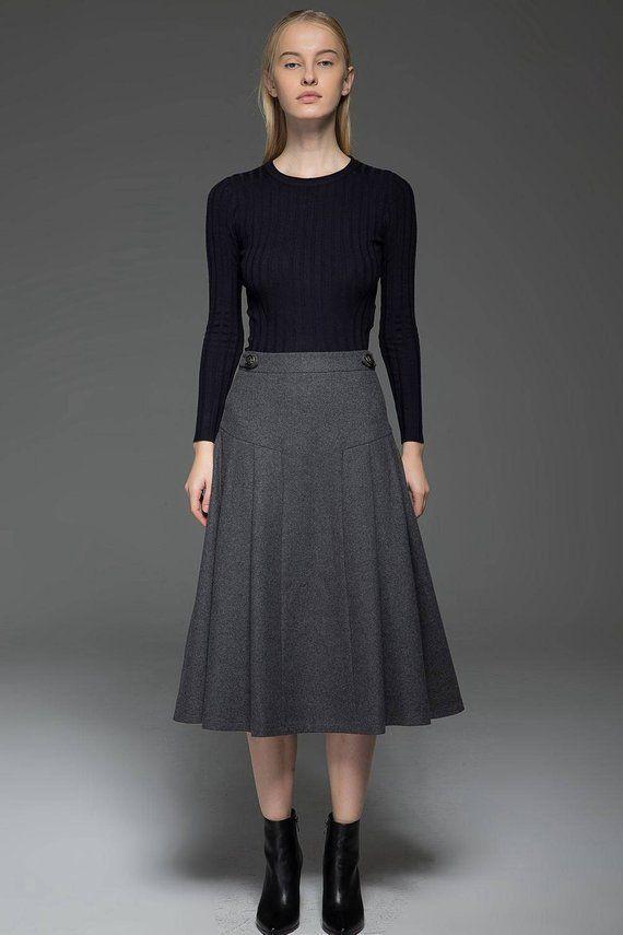 2bf89792a8 Gray wool skirt, Winter skirt, midi skirt, wool skirt, A Line Skirt, woman  skirt, warm skirt, winter