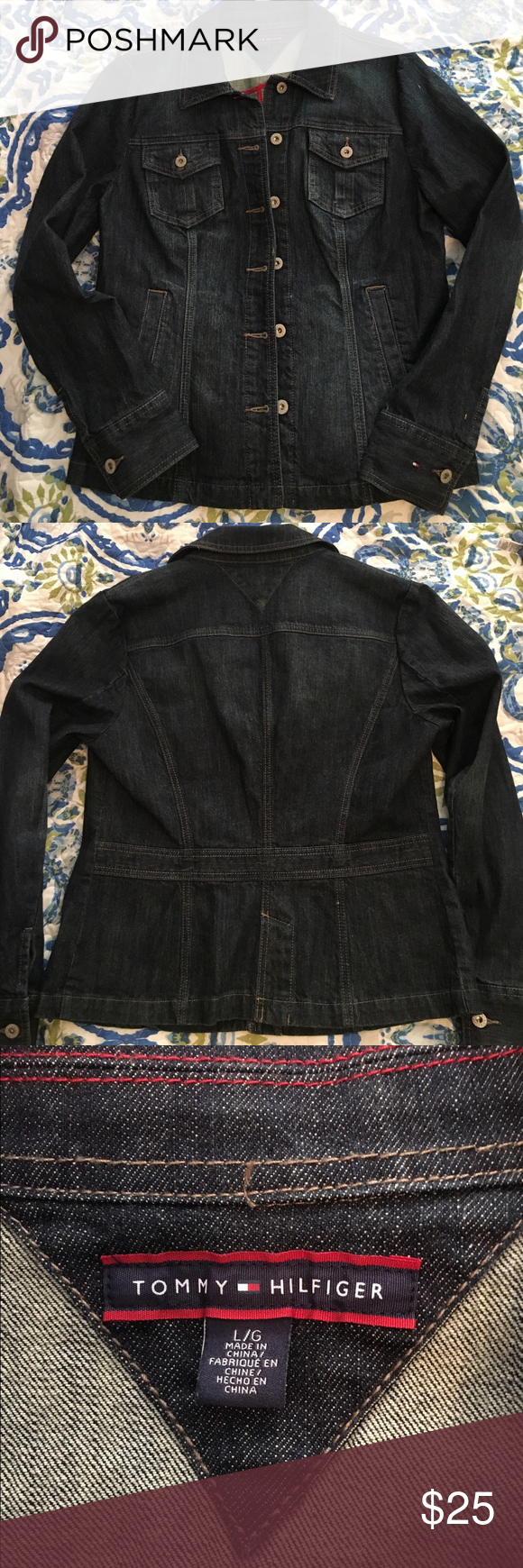 Tommy Hilfiger denim jacket Classic Tommy Hilfiger denim jacket in dark wash. Size large. Excellent condition! Tommy Hilfiger Jackets & Coats Jean Jackets