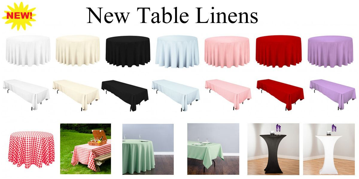 Want To Make Your Tables And Seating Look Very Elegant Rent Our Rectangular Round Polyester Table Linens And Table Linens Table And Chairs Place Card Holders