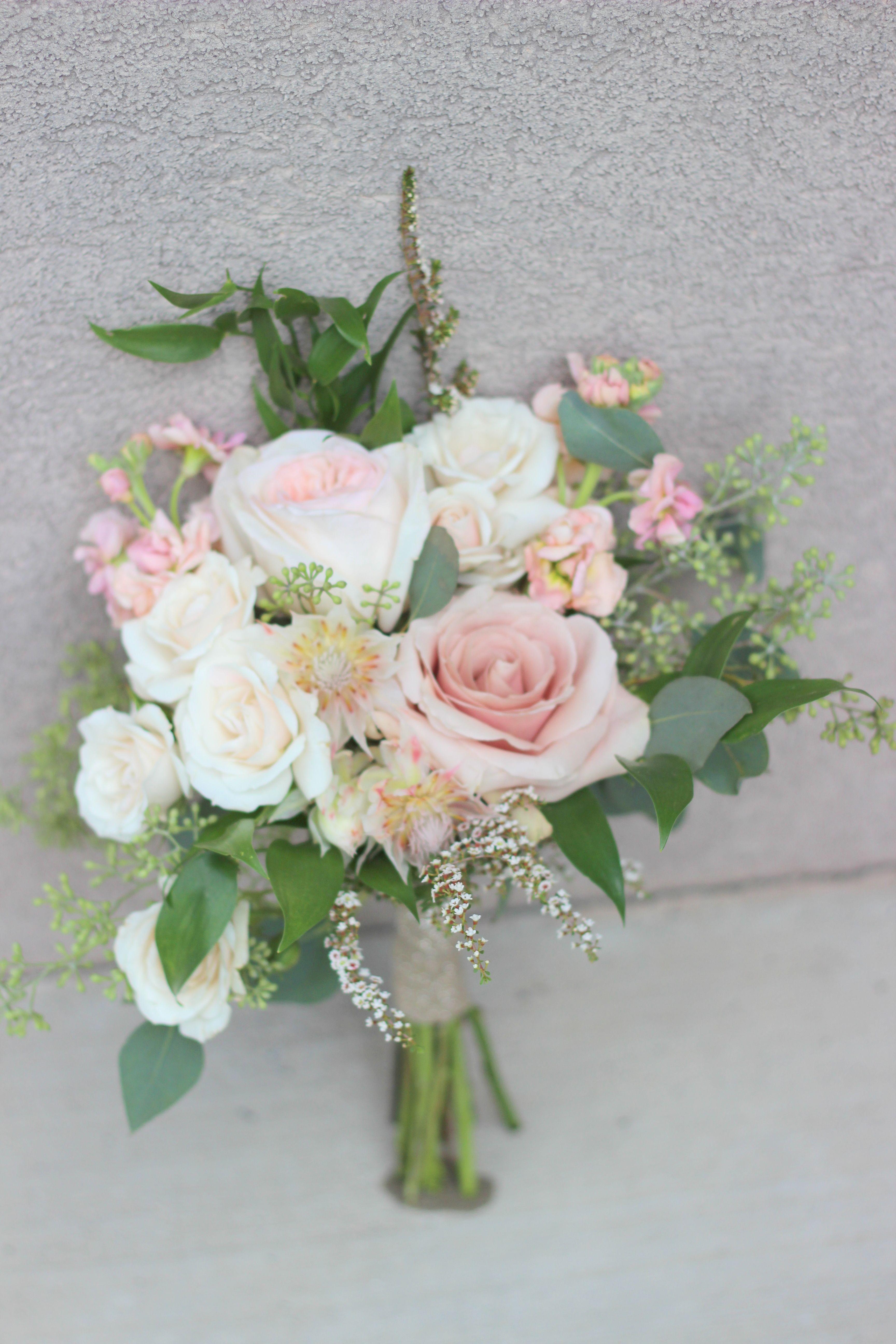 Blush Bridesmaids Bouquet Blush Stock Quicksand Rose White